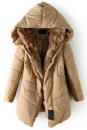Khaki Hooded Contrast Fur Lined Irregular Stitch Padded Coat