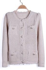 Apricot Metal Buttons Pockets Scallop Hem Cardigan Sweater