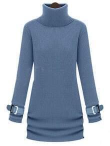 Blue High Neck Long Sleeve Drawstring Sweater Dress