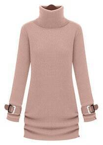 Pink High Neck Long Sleeve Drawstring Sweater Dress
