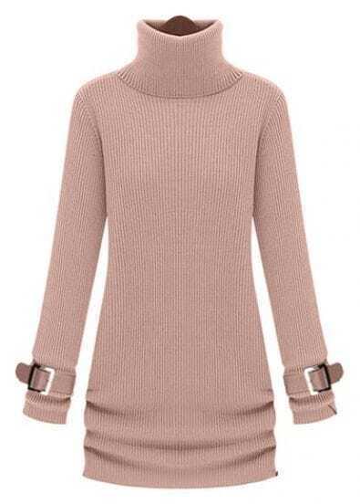 Pink High Neck Long Sleeve Drawstring Sweater Dress