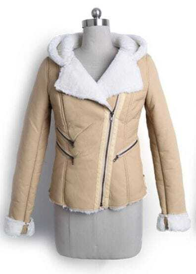 Apricot Hooded Long Sleeve Zipper PU Leather Coat