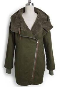 Green Hooded Long Sleeve Zipper Pockets Loose Coat