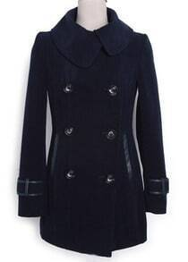 Navy Lapel Long Sleeve Buttons Pockets Coat