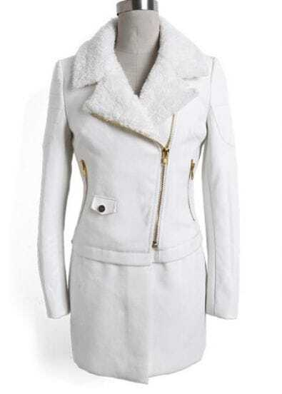 White Lapel Contrast Leather Long Sleeve Coat