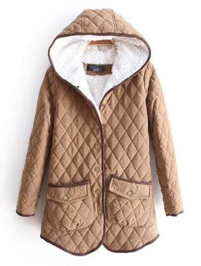 Khaki Hooded Long Sleeve Diaper Pockets Coat