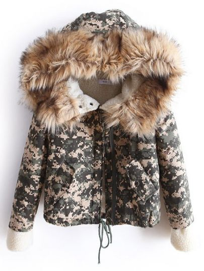 Green Camouflage Fur Hooded Drawstring Crop Coat