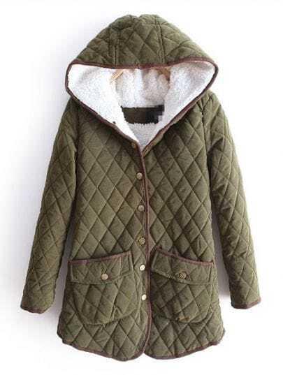Green Hooded Long Sleeve Diaper Pockets Coat