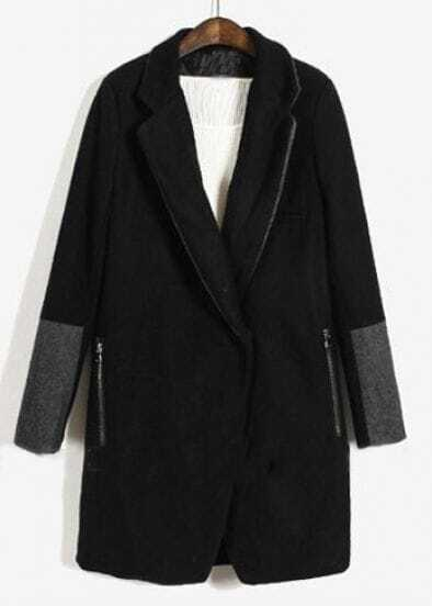 Black Lapel Long Sleeve Covered Button Coat