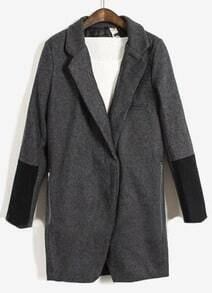 Grey Lapel Long Sleeve Covered Button Coat
