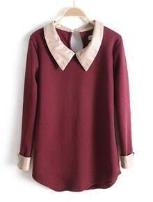 Dark Red PU Leather Lapel Long Sleeve Blouse