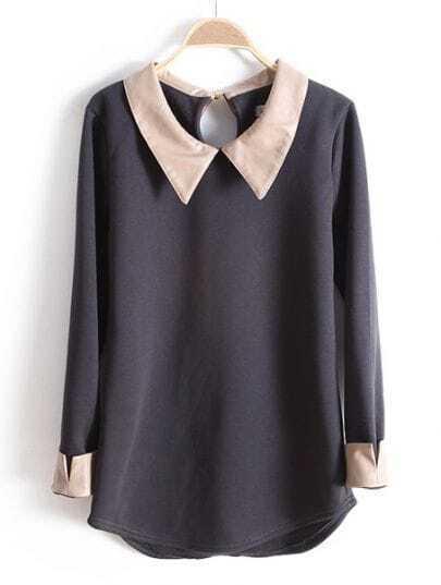 Dark Grey PU Leather Lapel Long Sleeve Blouse