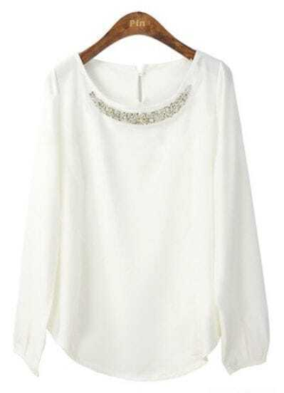 White Round Neck Long Sleeve Beading Chiffon Blouse