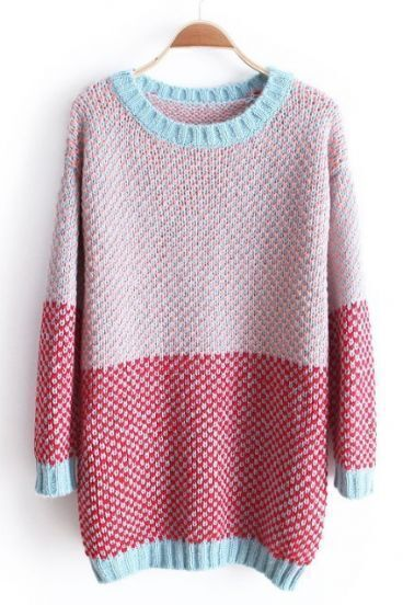 Pink Red Long Sleeve Contrast Trims Loose Sweater