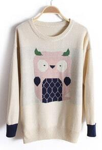 Beige Long Sleeve Owl Embroidery Cartoon Sweater