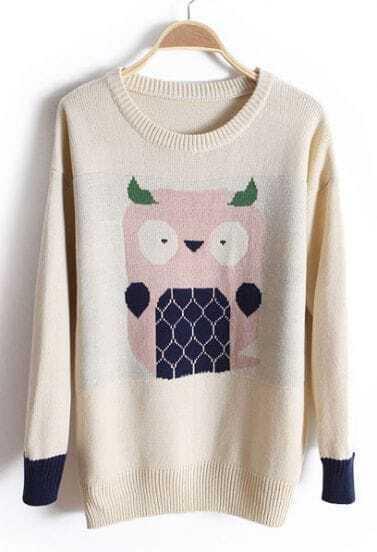 Beige Long Sleeve Owl Embroidery Cartoon Sweater