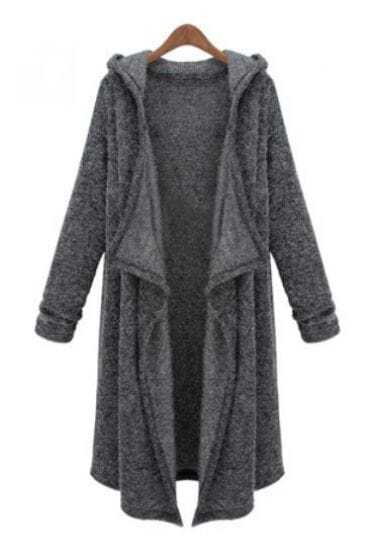 Dark Grey Hooded Long Sleeve Cardigan Sweater -SheIn(Sheinside)