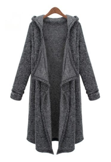 dark grey hooded long sleeve cardigan sweater shein. Black Bedroom Furniture Sets. Home Design Ideas