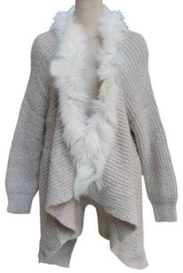 Apricot Long Sleeve Fur Asymmetrical Cardigan Sweater