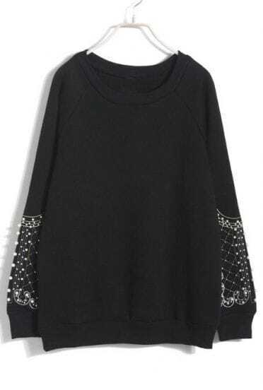 Black Long Sleeve Embroidery Beading Sweatshirt