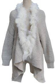 Apricot Long Sleeve Fur Asymmetrical Cardigan Sweater