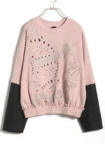 Pink Contrast Leather Long Sleeve Hollow Sweatshirt