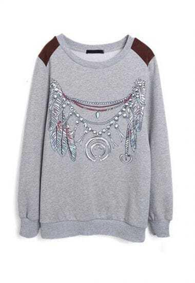 Grey Long Sleeve Necklace Tribal Print Sweatshirt