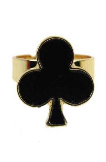 Black Plum Flower Gold Ring