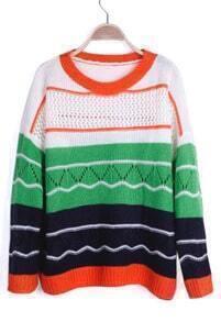 Green Contrast Black Striped Eyelet Knit Drop Shoulder Sweater