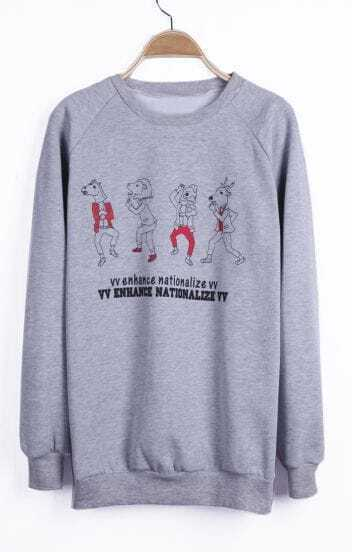 Grey VV ENHANCE NATIONALIZE VV Animals Print Sweatshirt