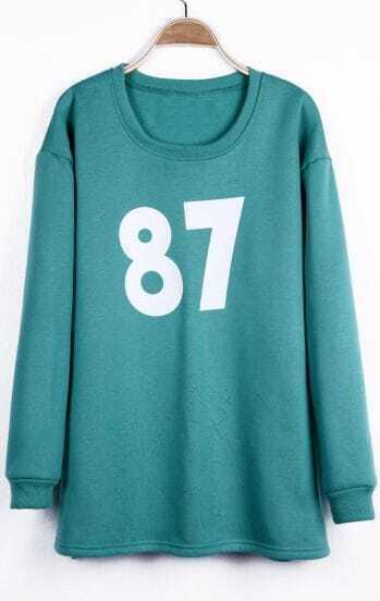 Green Round Neck 87 Numbers Print Oversized Sweatshirt