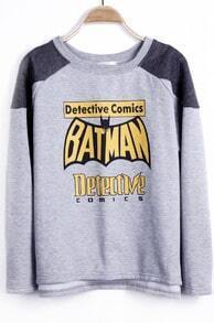 Grey Reglan Sleeve BATMAN Detective Comics Asymmetric Hem Sweatshirt
