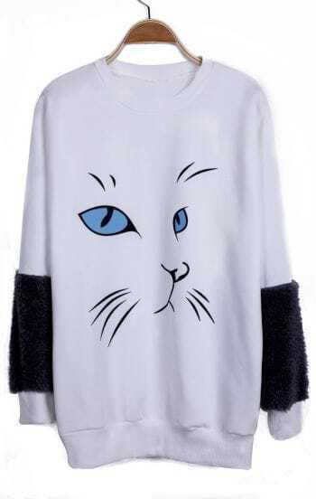 White Cartoon Cat Pattern Contrast Fluffy Sleeve Sweatshirt