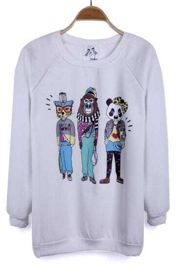 White Cartoon Panda Cat Gorilla Pattern Pullover Sweatshirt