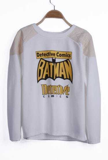 White Reglan Sleeve BATMAN Detective Comics Asymmetric Hem Sweatshirt