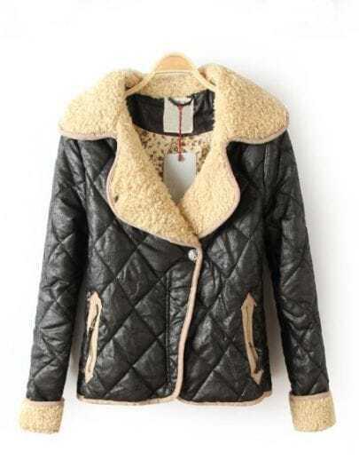 Black Long Sleeve Diaper Pockets PU Leather Coat