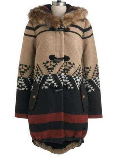 Khaki Fur Hooded Geometric Horn Button Coat