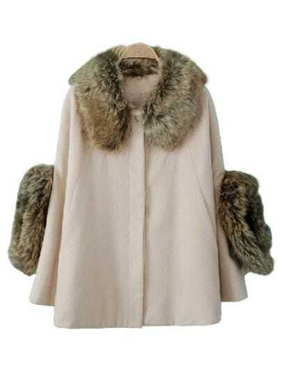 Light Pink Long Sleeve Removable Fur Button Coat