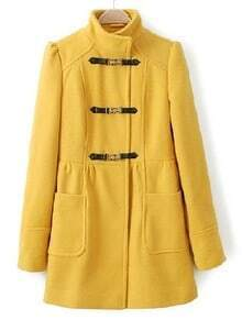 Yellow Long Sleeve Leather Buckle Pockets Coat