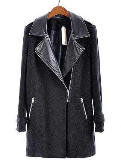 Black Leather Lapel Long Sleeve Zipper Pockets Coat