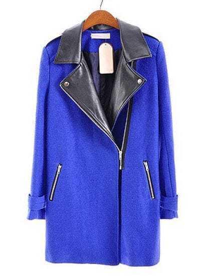Blue Leather Lapel Long Sleeve Zipper Pockets Coat
