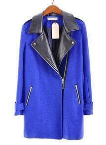 Blue Leather Lapel Long Sleeve Zipper Pockets Coat