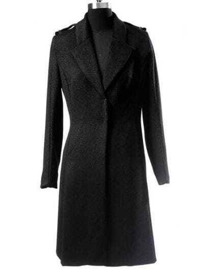 Black Lapel Long Sleeve Covered Button Epaulet Coat