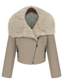 Khaki Fur Lapel Zipper Pockets Crop Coat
