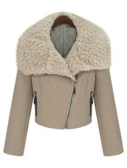 Khaki Fur Lapel Zipper Pockets Crop Coat