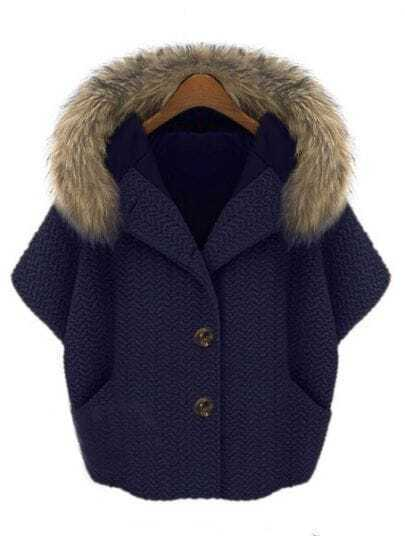 Navy Fur Hooded Batwing Half Sleeve Pockets Coat