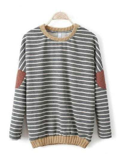 Grey Batwing Long Sleeve Striped Patch Sweatshirt