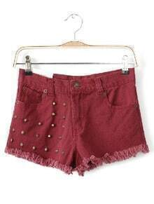 Red High Waist Rivet Fringe Denim Shorts