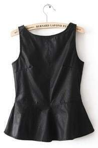 Black Sleeveless Ruffles PU Leather Tank T-Shirt