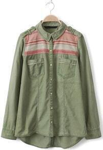 Green Lapel Long Sleeve Epaulet Pockets Blouse